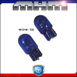 Ampoules T20 WY21W bleutées éclairage blanc