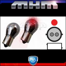 Ampoules rouge chrome BAY15D culot droit