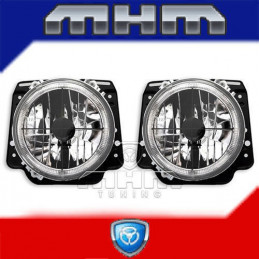 2 FEUX PHARE ANGEL EYES CHROME + CROIX VW GOLF 2