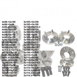 4 CALES CHANGEMENT ENTRAXE 15MM 4X100 57.1MM - 5X100 57.1MM AUDI VW