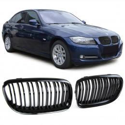 CALANDRE NOIRE BRILLANTE DOUBLE BARRE BMW SERIE 3 E90 E91 2008-2012